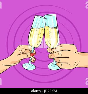 Vector hand drawn pop art illustration of man and woman hands holding glasses of champagne. Retro style. Cheering - Stock Photo