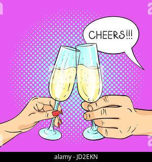 Vector hand drawn pop art illustration of man and woman hands holding glasses of champagne. Retro style. Speech - Stock Photo