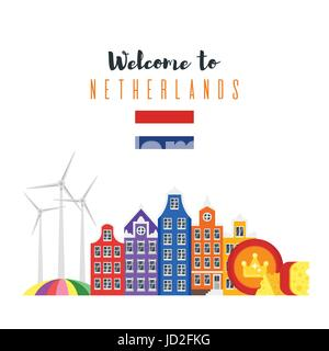 Vector flat style set of Netherlands national cultural symbols. Template for banner or poster for tourist. Isolated - Stock Photo