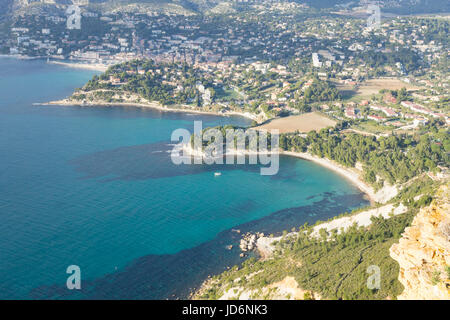 Cassis view from Cape Canaille top, France. Beautiful french landscape. - Stock Photo