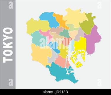 Japan political map with capital Tokyo national borders and Stock