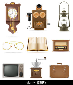 set of much objects retro old vintage icons stock vector illustration isolated on white background - Stock Photo