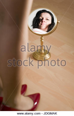 woman, shoes, reflection, consider, stand, mirror, woman, legs, laugh, laughs, - Stock Photo