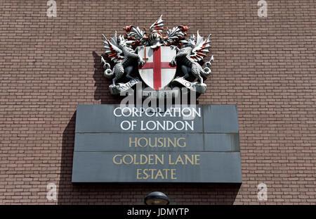 Corporation of London Sign, Housing Golden Lane Estate, City of London, England Britain UK - Stock Photo