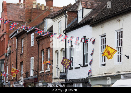 Union jack bunting and flags in Upton-upon-Severn, Worcestershire, England - Stock Photo