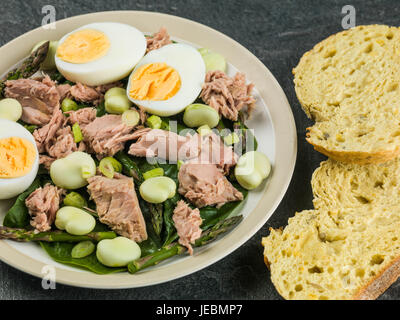 Tuna Fish Salad with Broad Beans Boiled Eggs and Asparagus Against a Black Background - Stock Photo