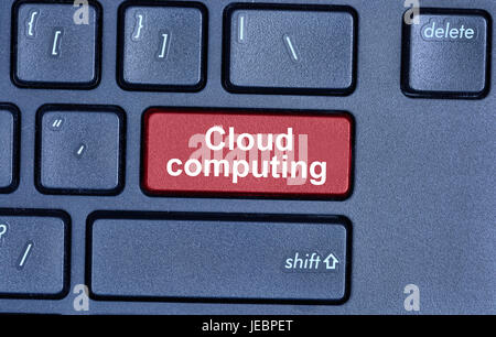 Cloud computing words on keyboard button pc - Stock Photo