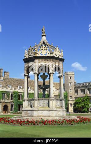 Great Britain, England, Cambridgeshire, Cambridge, Trinity college, Great court, well, Europe, town, destination, - Stock Photo