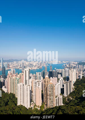 Vertical aerial cityscape of Hong Kong from up the Peak, China. - Stock Photo