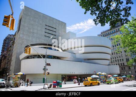 Facade of the Guggenheim Museum, New York City, USA - Stock Photo
