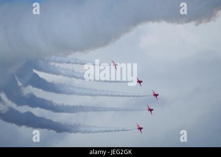 The Royal Air Force Acrobatic Team, The Red Arrows, Displaying at Dawlish Airshow 2015. Devon, UK. August, 2015. - Stock Photo