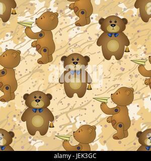 Seamless pattern, teddy bears with toys - Stock Photo