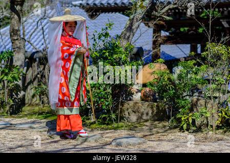 Traditional costume in Miyajima island - Stock Photo