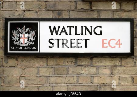 Corporation of London logo on Watling Street sign in the City of London EC4 England UK  KATHY DEWITT - Stock Photo