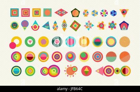 Geometry Element Shapes Set Colorful Fun Abstract Icons And Symbols