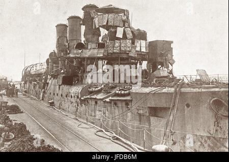 HMS Vindictive after the Zeebrugge raid - Stock Photo