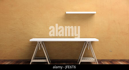Office desk and a self on a wooden floor - stucco painted wall. 3d illustration - Stock Photo