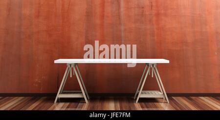Office desk on a wooden floor - stucco painted wall. 3d illustration - Stock Photo