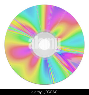 a colorful cd-rom music data storage - Stock Photo