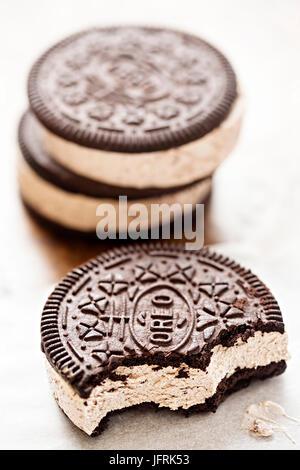 Chocolate vanilla ice cream sandwich - Stock Photo