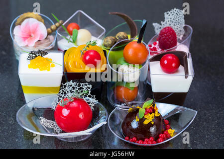 Cheese tomato sandwich in plastic package with label for Canape desserts