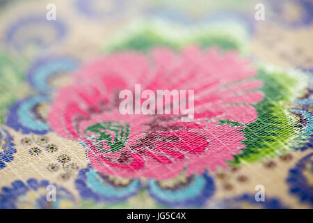Close up of floral pattern at vintage fabric - Stock Photo