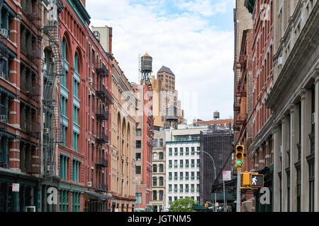Historic buildings along Franklin Street in the Tribeca neighborhood of Manhattan, New York City NYC - Stock Photo