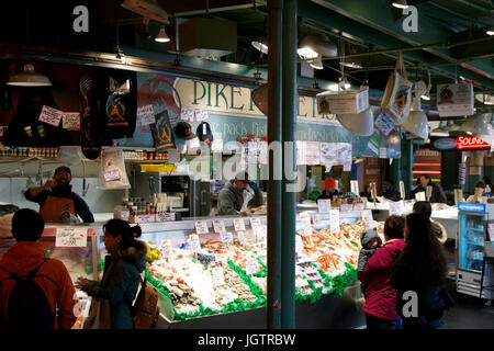 Seattle washington usa jan 24th 2017 entrance to the for Famous fish market in seattle