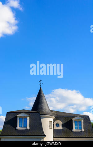 Slate roof of a high standing house with a turret and a weathervane under a blue sky. - Stock Photo