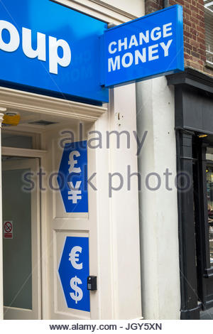 currency exchange shop sign stock photo royalty free image 61766365 alamy. Black Bedroom Furniture Sets. Home Design Ideas