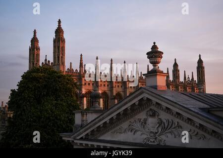 Sunset light reflecting off King's College Chapel. Cambridge, UK - Stock Photo