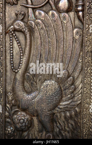 Detail of door of Shri Bankey Bihari Mandir, a notorious Hindu temple dedicated to Krishna in the holy city of Vrindavan, - Stock Photo