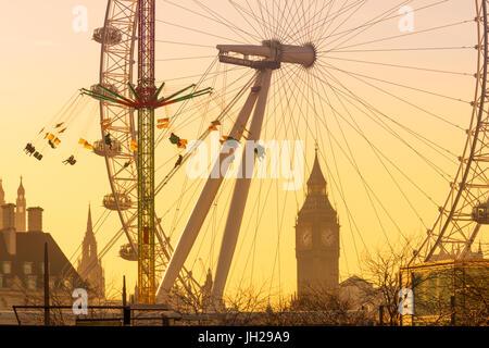 Houses of Parliament, Big Ben and London Eye, London, England, United Kingdom, Europe - Stock Photo