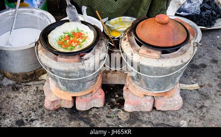 Bagan, Myanmar - Feb 20, 2016. Local street food in Bagan, Myanmar. Burmese food is delicious, a cuisine that highlights - Stock Photo