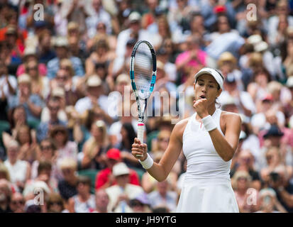 London, London, UK. 13th July, 2017. Garbine Muguruza of Spain celebrates after winning the women's singles semi - Stock Photo