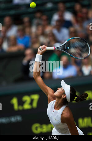 London, London, UK. 13th July, 2017. Garbine Muguruza of Spain competes during the women's singles semi-final match - Stock Photo