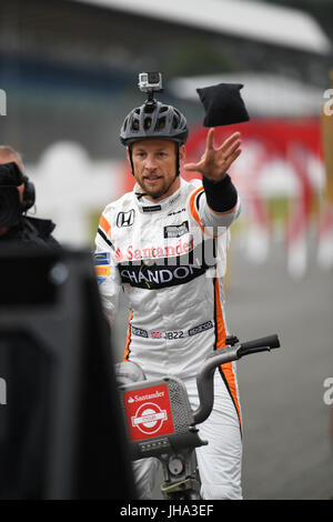 F1 British Grand Prix. Silverstone Race Circuit, UK. Thursday 13 July 2017. Former F1 driver, Jenson Button (GBR) - Stock Photo