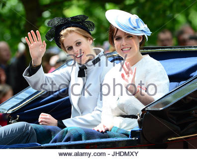 Princess Beatrice and Princess Eugenie. Members of the Royal Family attend The Queen's Birthday Parade: Trooping - Stock Photo