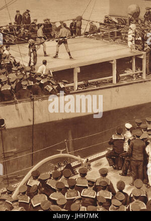 Boxing match on a warship of the Grand Fleet in WW1 - Stock Photo
