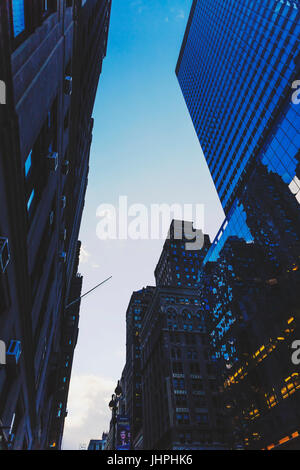 NEW YORK, NY - December 03, 2016: detail of Mahnattan's streets and skyscapers at blue hour - Stock Photo
