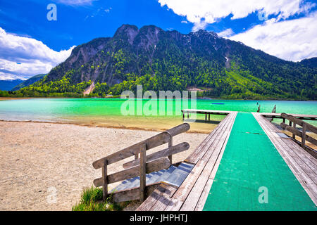 Achen lake turquoise water and Alps mountains view, Tyrol region of Austria - Stock Photo