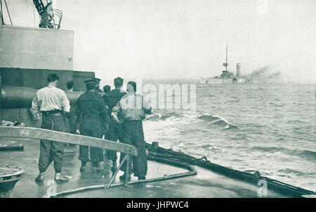 SMS Mainz destroyed at Heligoland, 1914 - Stock Photo