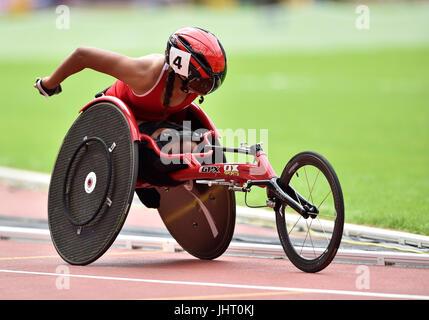 London, UK. 15th July, 2017.  Marie E.A. Alphonse (MRI) during Women's 1500M, T54, R1, H2/2 at World Para Athletics, - Stock Photo