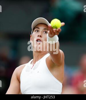 London, London, UK. 15th July, 2017. Garbine Muguruza of Spain competes during the women's singles final match with - Stock Photo
