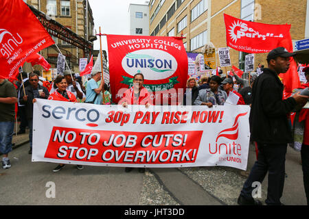 London, UK. 15th July, 2017. Since the 1st April, the cleaners, porters, caterers and security of four hospitals - Stock Photo