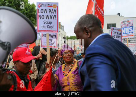 London, UK. 15th July, 2017.Since the 1st April, the cleaners, porters, caterers and security of four hospitals - Stock Photo