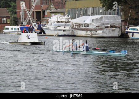 Weybridge Rowing Club (Runners-up). Women's Intermediate 1 Double FINAL. 150th Molesey Amateur Regatta, 15th July - Stock Photo