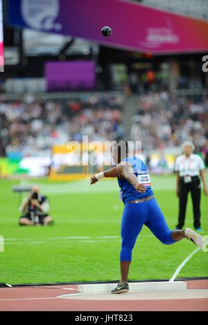 London, UK. 15th July, 2017. Congo Villalba (ECU) throwing the shot during the Men's Shot Put F20 final at the World - Stock Photo