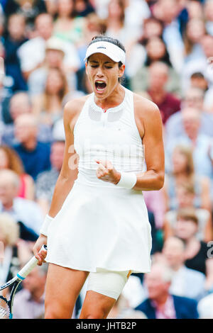 London, UK. 15th July, 2017. Garbine Muguruza (ESP) Tennis : Garbine Muguruza of Spain reacts during the Women's - Stock Photo