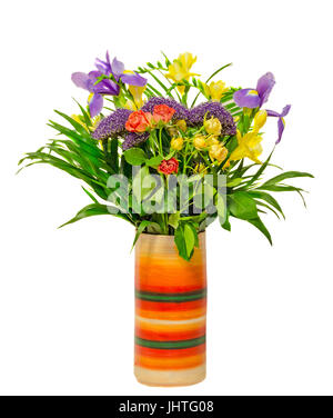 Red roses, violet iris flowers, yellow freesia in a vivid various colored vase, isolated - Stock Photo